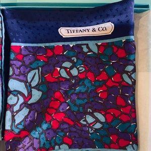 """Tiffany &Co. 100% Silk Scarf 34"""" X 34"""" Navy Blue"""